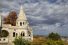 Tower of Fisherman Bastion in Budapest, Hungary. Conical tower of Fisherman Bastion in Budapest, Hungary Stock Photo