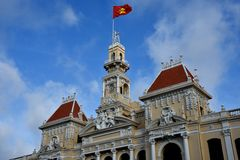 Tower and flag, Ho Chi Minh City Hall, 2016 VietNam Stock Photo