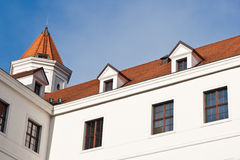 Tower fo the Bratislava Castle. Bratislava Castle as seen from the inside courtyard stock photos