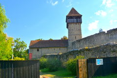 Tower of the fortified medieval saxon church in Calnic, Transylvania Royalty Free Stock Photo