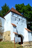 Tower of the fortified medieval saxon church in the village Crit, Transylvania. Royalty Free Stock Photo