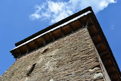 Tower of the fortified, saxon, medieval church in the village Viscri, Transylvania. Stock Photos