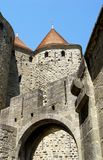 Tower of the fortress of Carcassonne,France, Languedoc-Roussillon. Strengthening the tower of the medieval fortress of Carcassonne, France, Languedoc-Roussillon Royalty Free Stock Images