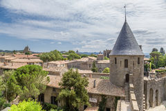 The tower of the fortress of Carcassonne, France. UNESCO List. Chateau Comtal is located within the fortress of Carcassonne, which was founded by the Romans Royalty Free Stock Image