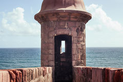 Tower fortress. Medieval north-side watch tower in old San Juan, Puerto Rico facing Caribbean sea Royalty Free Stock Photos