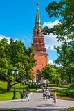 Tower of fortress Moscow Kremlin named `Borovitskaya`. Many tourists from a different countries may to see it everyday Royalty Free Stock Photos