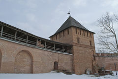 The tower of the fortress wall. The Kremlin Of Novgorod The Great, Russia Stock Photo