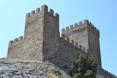 The tower of the fortress. The wall of the fortress, the old ancient castlen stock photography