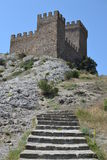 The tower of the fortress. The wall of the fortress, the old ancient castlen royalty free stock photos