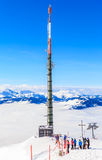 Tower fot mobile phone on the top of the mountain Hohe Salve. Ski resort  Soll, Tyrol, Austria Royalty Free Stock Image