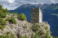 Tower Fraele in Valtellina. Detailed view of Tower Fraele viewpoint in Valtellina Stock Images