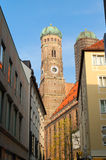 Tower of the Frauenkirche at munich bavaria Royalty Free Stock Photography