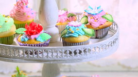 Tower full of homemade muffins stock footage
