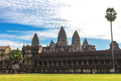 Tower and galleries of Angkor Wat Temple at morning. Tower and galleries of Angkor Wat Temple at sunny morning. Siem Reap, Cambodia Stock Image