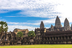 Tower and galleries of Angkor Wat Temple at morning. Tower and galleries of Angkor Wat Temple at sunny morning. Siem Reap, Cambodia Stock Photography
