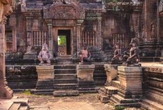 Tower and galleries in Banteay Srei, Siem Reap, Cambodia. Stock Photography