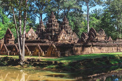 Tower and galleries in Banteay Srei, Siem Reap, Cambodia. Stock Photos