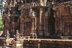 Tower and galleries in Banteay Srei, Siem Reap, Cambodia. Tower and galleries at sunny morning in Banteay Srei Temple, Siem Reap, Cambodia Royalty Free Stock Photo