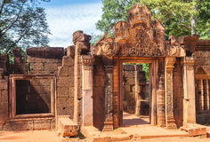 Tower and galleries in Banteay Srei, Siem Reap, Cambodia. Stock Images