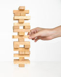 Tower Game with a Wooden Royalty Free Stock Photo