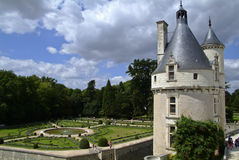 Tower and garden of the chateau of Chenonceau Stock Images