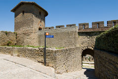 Tower and gate of carcassonne chateau Stock Image