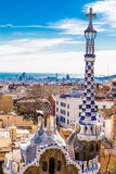 Tower Of Gate House - Park Guell, Barcelona, Spain. Tower Of Gate House - Park Guell, Barcelona, Catalonia, Spain, Europe Royalty Free Stock Photography
