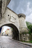 Tower and gate in the old medieval city of Tallinn, Estonia. Stock Image