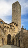 Tower and gate in San Gimignano, Italy Stock Photos