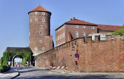 Tower, Gate and Wall of Wawel Castle Royalty Free Stock Images