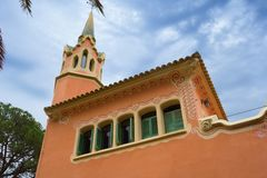 The tower of Gaudi House Museum stock image