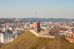 Tower of Gediminas on the hill, view of Vilnius Royalty Free Stock Photo