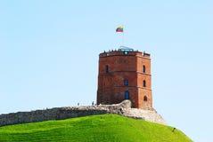 Tower of Gediminas - Symbol of Vilnius on the hill. VILNIUS, LITHUANIA - JUNE 6 : Tower of Gediminas - Symbol of Vilnius on the hill on June 6, 2015, Vilnius royalty free stock photography