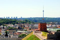 Tower of Gediminas - Symbol of Vilnius on the hill Royalty Free Stock Image