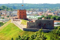 Tower of Gediminas - Symbol of Vilnius on the hill. VILNIUS, LITHUANIA - JUNE 6 : Tower of Gediminas - Symbol of Vilnius on the hill on June 6, 2015, Vilnius stock image