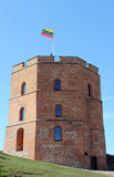 Tower of Gediminas, Vilnius, Lithuania. Symbol of Vilnius and Lithuania, with a national flag on the top Royalty Free Stock Photography