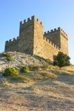 Tower of Genoa fortress in Sudak Crimea. From the ground up on the hill Royalty Free Stock Photos