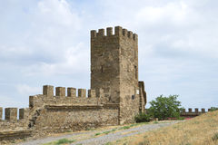 Tower of Genoese fortress in Sudak. Crimea Stock Photography