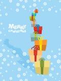 Tower gifts and snowfall. Happy Christmas.  Stock Image