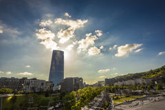 Tower of glass in Bilbao. New tower in the center of Bilbao Royalty Free Stock Photography