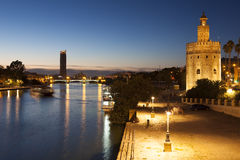 Tower of the gold and Guadalquivir river, Seville. Andalusia, Spain royalty free stock images