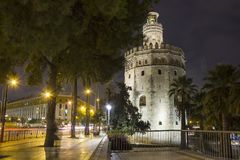 Torre del Oro, Seville, Spain. Tower of Gold Torre del Oro medieval military watchtower at night, Seville, Spain royalty free stock images