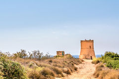 Tower on the Golden Bay beach, Malta Stock Photography