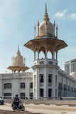 Tower with golden decorated. The National Mosque of Malaysia is a mosque in Kuala Lumpur, Malaysia. Royalty Free Stock Photos