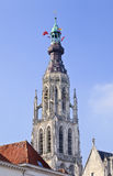 Tower of the Great Church in historical city center, Breda, Netherlands. Tower of the Great Church in the historical city center of Breda, The Netherlands royalty free stock image
