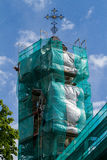 Tower of the Greek Catholic Church in scaffolding Stock Photo