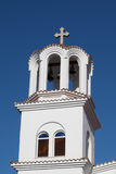 Tower of Greek orthodox Church in Paralia Katerini beach, Greece Stock Photos