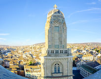 The tower of the Grossmunster (great minster) Church.  Zurich Royalty Free Stock Photography