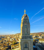 The tower of the Grossmunster (great minster) Church.  Zurich Stock Photos