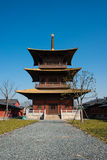 The tower in the Guang Fulin Park with blue sky. Royalty Free Stock Images